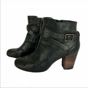 Cole Haan Black Bootie Wood Stacked Heel 9.5